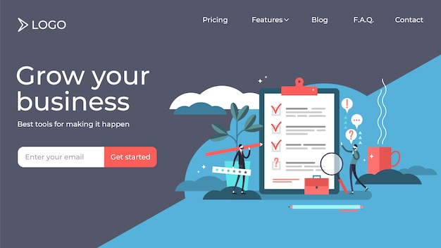 Survey flat tiny persons landing page vector illustration template design.
