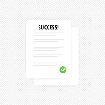 回答済みの成功結果評価の図を含む調査または試験フォームの紙の山。教育テストのアイデア。孤立した透明な背景上のベクトル。 eps10。