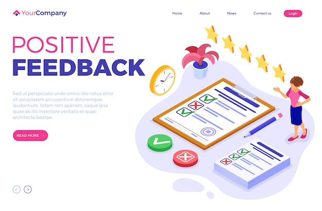 Survey positive feedback or test banner with isometric character. feedback online. questionnaire form on clipboard. survey research. landing page template isometric