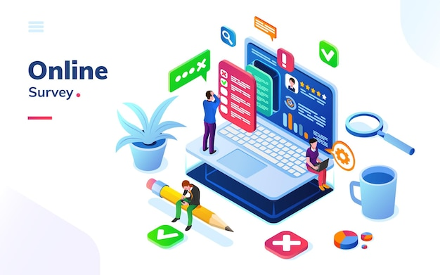 Survey or review, online social feedback or voting, exam at isometric office.