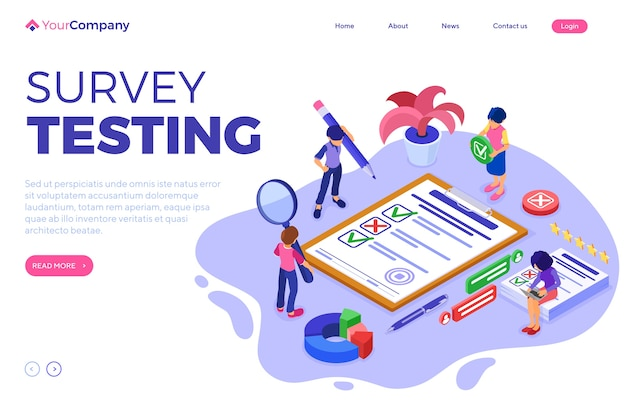 Survey or test banner with isometric characters. feedback online chat. questionnaire form on clipboard. survey research. landing page template. isometric