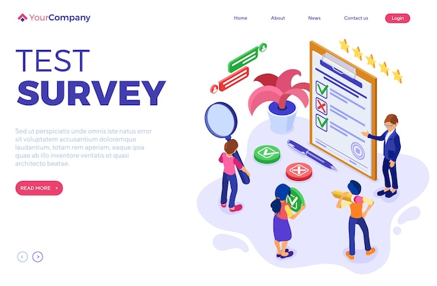 Survey or test banner with isometric characters. feedback online chat.