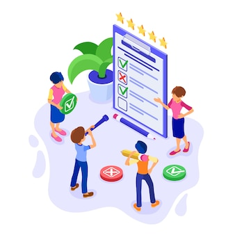 Survey or test banner with isometric characters. feedback rating. man and woman questionnaire form on clipboard. survey research. isolated isometric