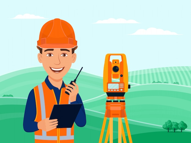 Surveyor, cadastral engineer, cartographer, cartoon smile character, theodolite, total station, surveying equipment.