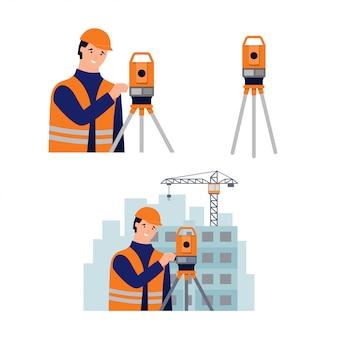 Surveyor, cadastral engineer, cartographer and theodolite. set of illustration in flat style on white background