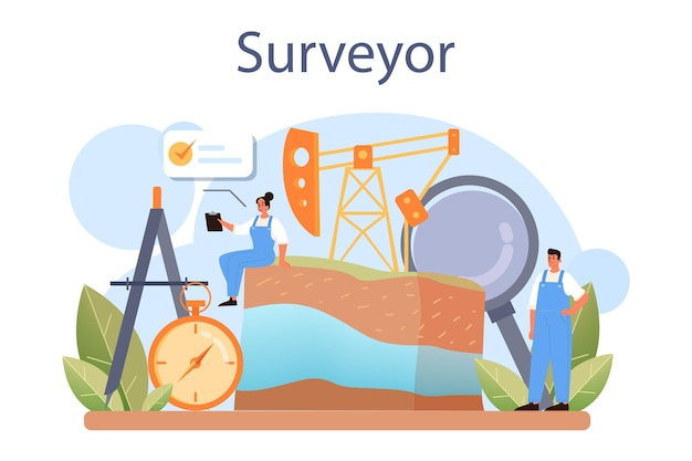測量士の概念。土地測量技術、測地学