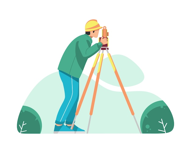 A surveyor is operating the optical level
