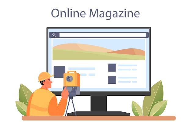 Surveyor online service or platform. land surveying, geodesy science.