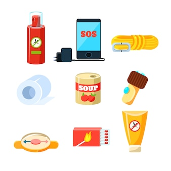 Survival emergency kit for evacuation, items, active rest.  set
