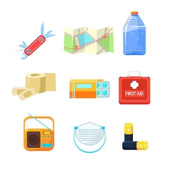 Survival emergency kit for evacuation, items active rest.  set