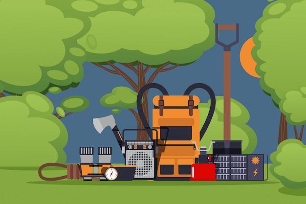 Оборудование для выживания на открытом воздухе. инструменты и аксессуары для дикой природы. рюкзак, лопата, рация и походная газовая плита. основное оборудование для выживания