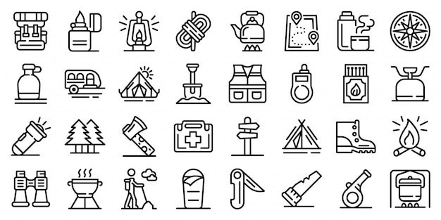 Survival icons set, outline style