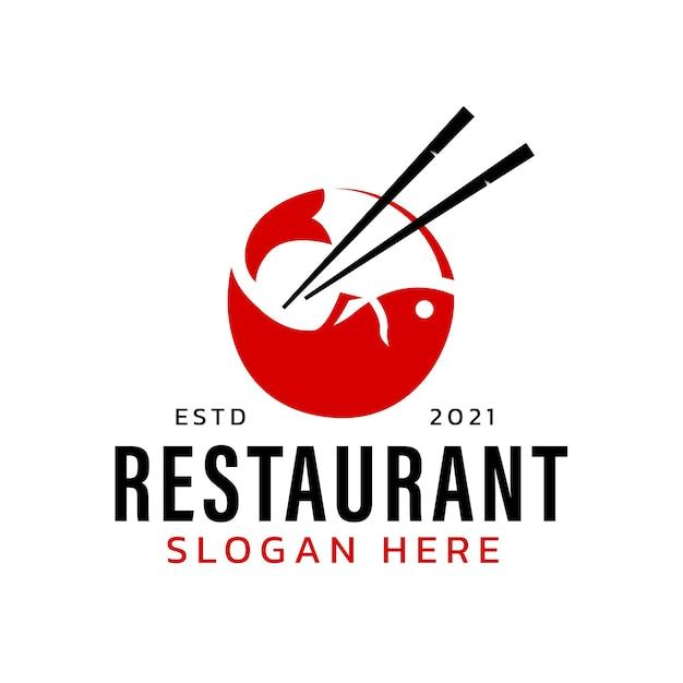 モダンなミニマリストコンセプトの寿司と魚のロゴ