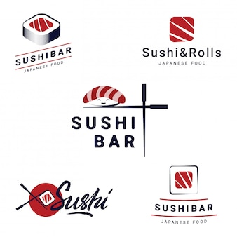 Sushi bar logos templates set. vector objects and icons for restaurants of japanese food