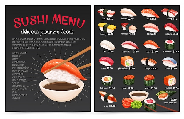 Суши-бар муну. иллюстрация японской кухни для магазина суши-роллов.