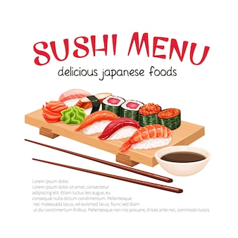 Sushi bar munu. japanese food promo poster illustration for sushi rolls shop.
