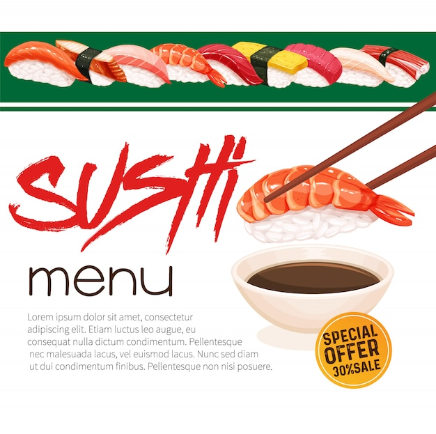 Sushi bar munu. japanese food promo poster for sushi rolls shop.  illustration.