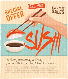 Sushi bar munu. japanese food retro promo poster for sushi rolls shop.  illustration.