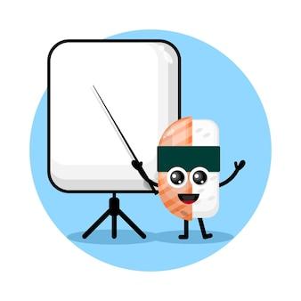 Sushi becomes a teacher cute character logo