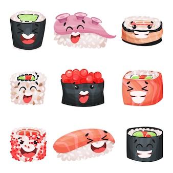 寿司の漫画のキャラクターセット、変な顔のイラストの日本食