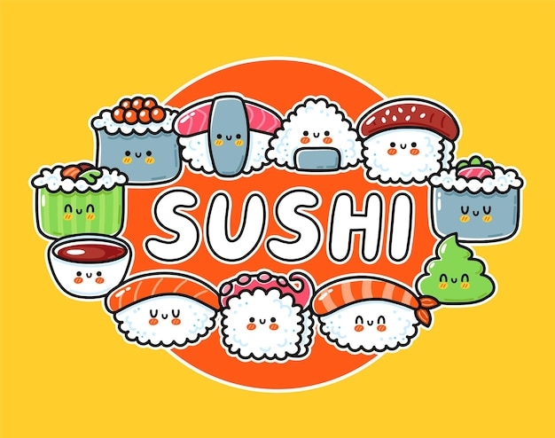 Sushi cartoon logo design. cute funny sushi set collection.
