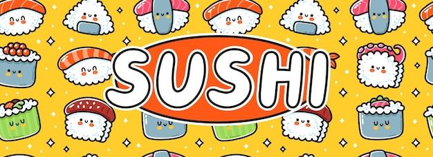 스시 만화 로고 가로 배너 디자인입니다. 귀여운 재미있는 스시 세트 컬렉션입니다. 벡터 손으로 그린 라인 귀여운 캐릭터 그림 아이콘입니다. 아시아 음식 로고 템플릿, 만화 카드, 포스터, 배너 개념