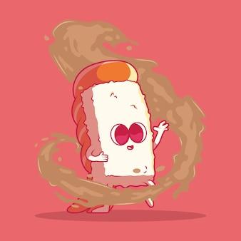 Суши персонаж с соевым соусом векторные иллюстрации еда забавная концепция дизайна бренда