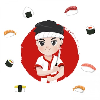 Sushi chef character for japanese restaurants,