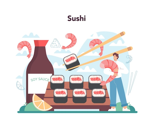 Суши-шеф-повар концептуального ресторана шеф-повар готовит роллы и суши
