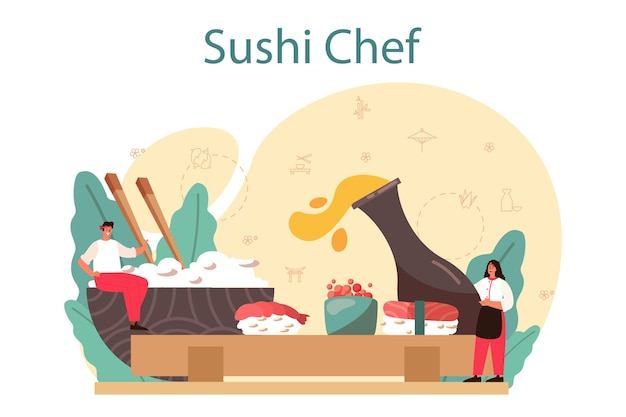 Sushi chef concept. restaurant chef cooking rolls and sushi. professional worker on the kitchen. isolated illustration in cartoon style
