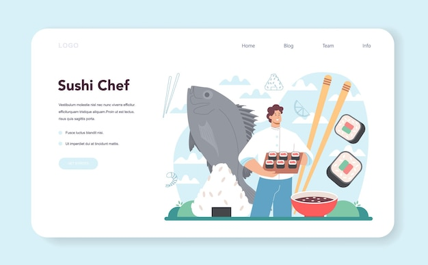 Sushi chef web banner or landing page restaurant chef cooking rolls