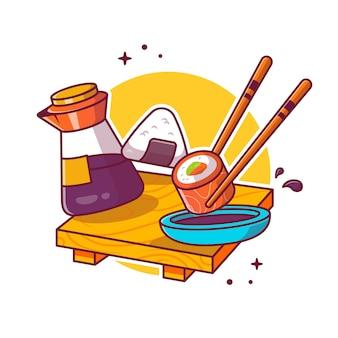 寿司、箸、醤油の漫画アイコンイラスト。分離された日本食のアイコンのコンセプト。フラット漫画のスタイル