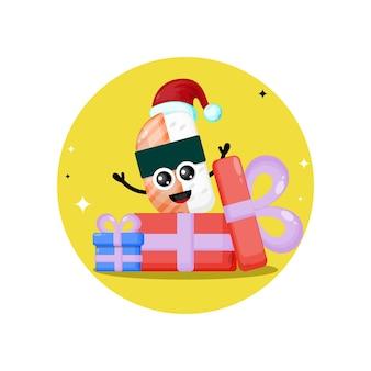 스시 크리스마스 선물 귀여운 캐릭터 로고