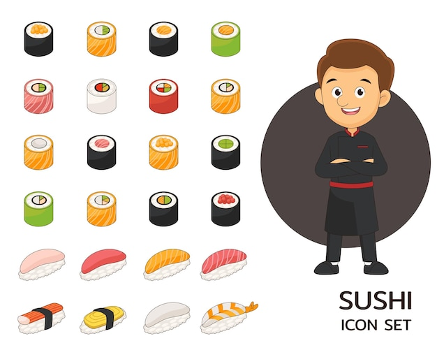Sushi collection concept flat icons.