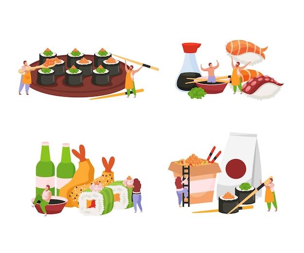 Суши цветные элементы набор иллюстрации