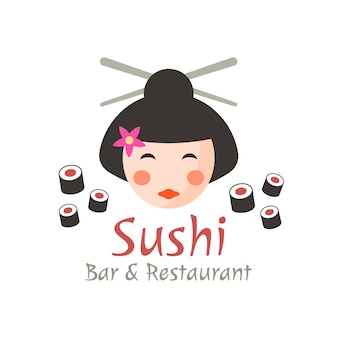 Sushi concept, geisha isolated logo template with sample text