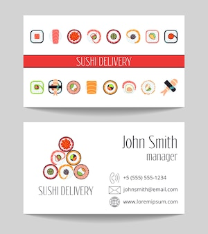 Sushi delivery business card both sides vector template
