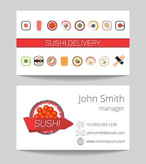 Sushi delivery business card both sides
