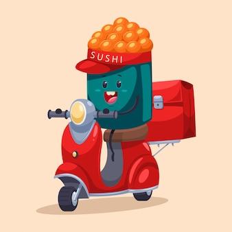 Доставка суши. смешная еда курьер персонажа на мопеде с сумкой. иллюстрации шаржа, изолированных на фоне.
