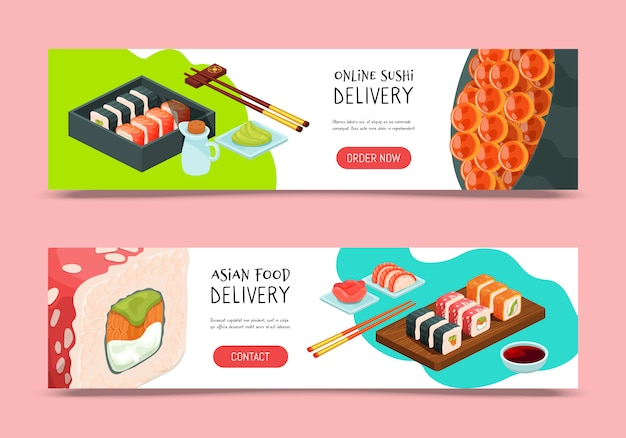寿司配達イラスト。オンラインサービスのバナーデザインテンプレートを提供します。レストランでは日本料理を提供しています。