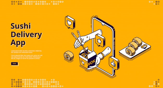 Sushi delivery isometric landing page, asian food