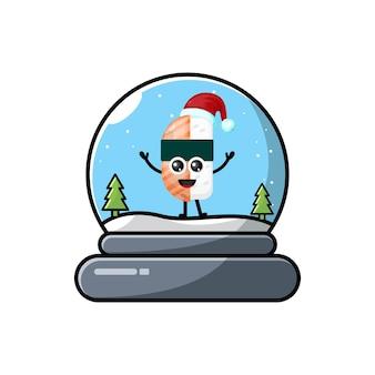 스시 돔 크리스마스 귀여운 캐릭터 로고