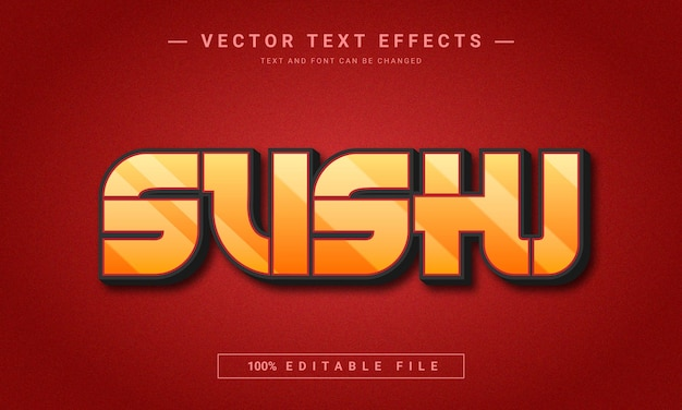 Sushi editable 3d text effect template