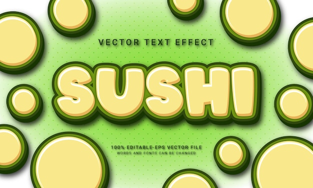 Sushi editable text effect with asian food menu theme