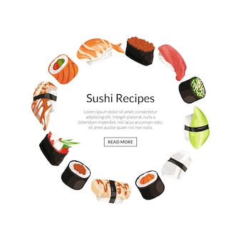 Sushi elements in circle