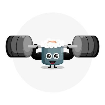 Суши фитнес милый персонаж логотип