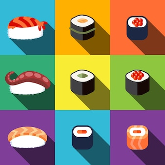 Sushi flat icons set elements, editable icons, can be used in logo, ui and web design