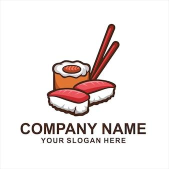 白で隔離の寿司食品のロゴ