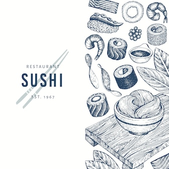 Sushi hand drawn background