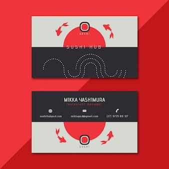 Sushi hub double-sided business card template